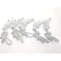 Kancing Kain Cheongsam Silver Perak Bunga 5 Pc Baju Dress Cina Imlek B