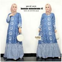 Baju Gamis Batik Wanita/ Gamis Muslimah/ Gamis Syar'i/Motif biru 0C