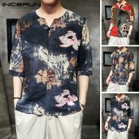 Dijual INCERUN Kaos T-Shirt Retro Casual Lengan Pendek Motif Bunga