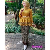 Set kebaya Brukat Aurora Mix Modern Warna Gold - Kuning