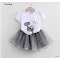 St cat grey/setelan atasan dan rok tutu anak perempuan/baju anak murah