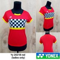 Baju kaos badminton cewek Yonex 2021B RED kaos yonex minion import