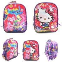 Tas Usap 2 Gambar Hello Kitty Little Pony Ransel Sequin Anak TK SD Bag