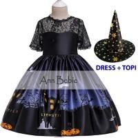 Dress Kostum Halloween Warna Biru Dongker Include Topi Nenek Sihir