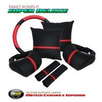 Set Bantal Mobil + Sarung Stir Bahan kulit MBTECH - SUPER DELUXE