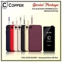 Samsung A8 Star - Paket Bundling Tempered Glass Glossy Dan Softcase