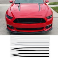 2 PCS Exterior Hood Bonnet Stripes Car Stickers Decal Trim Original