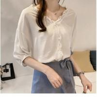 Baju Atasan Blouse Korea White Neck Lace (L) Import
