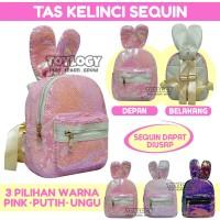 Tas Ransel Sekolah Anak Manik Sequin Kelinci Rabbit Bunny School Bag B