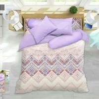 bedcover set my love ori halus lembut 180x200 warna soft ungu cream