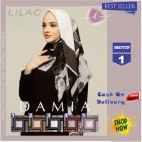 Jilbab Segi Empat Lilac Cotton French New Motif 1 By Damia Scarf -Keru
