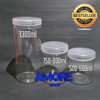 Toples Tabung 1300ml Jar Premium Toples Plastik Kue Astor/ Ikan Cupang