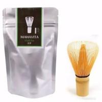 Matcha 100g bubuk teh hijau + Chasen adukan bambu paket duo
