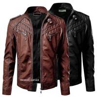 Jaket Kulit Pria Terbaru Warna Hitam dan Coklat Ukuran M L dan XL