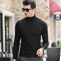 Baju Kaos Atasan Turtle Neck Slim Fit Pria | Busana Hitam Abu Navy