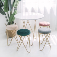 Nordic geometric wrought iron home suede stools ins bangku minimalis