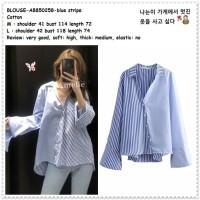 AB850258 Baju Atasan Kemeja Garis Wanita Blouse Korea Import Biru Blue
