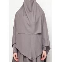 Gamis Syari Set Baju Gamis Wanita Muslim Allev Hana Set Charcoal Grey