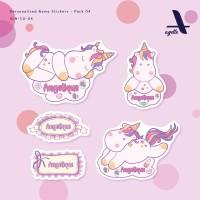 127 PCS - Stiker Label Nama Chibi Unicorn - 04 - Laminasi - Waterproof