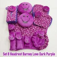 Bantal mobil set 8 Headrest Kepala Barney Love Dark Purple /Ungu