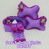 bantal mobil set 3 Barney Onde Ungu