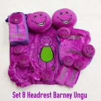 Bantal mobil set 8 Headrest Kepala Barney Ungu