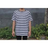 T-Shirt Kaos Belang Big Stripe Hitam Putih Lengan Pendek