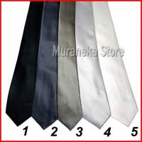 Dasi Panjang Garis Hitam Abu Silver Putih Formal Wisuda Jas Ospek Pria