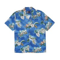 Kemeja Pantai Lengan Pendek Monochrome SS Blue Wave Mentawai Shirt