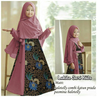 VEARI KID gamis syari anak perempuan dress batik muslim bergo