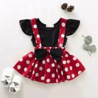 baju bayi dress motif minnie mouse lucu for baby girl 1-3 tahun