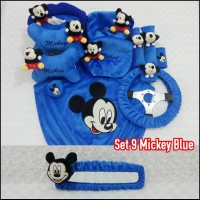 Bantal Mobil 9 in 1 Headrest Tulang MICKEY Mouse Blue