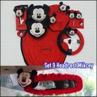 Bantal Mobil 9 in 1 Headrest Kepala MICKEY MOUSE Merah