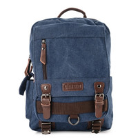Urban State - Canvas PU Buckle Backpack - Navy