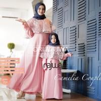 Promo Baju Gamis Brokat Ibu dan Anak Cewek Camelia Couple