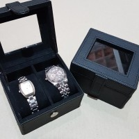 [Pasti Murah]-tempat jam isi /box jam tangan isi 2 full black - Merah