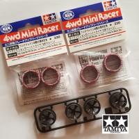 Tamiya Ban Maroon 25th Anniv 95116 2set & Velg 5 Spoke Wheel Mini 4WD