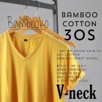 kaos polos Kuning V-Neck katun bambu (cotton bamboo)