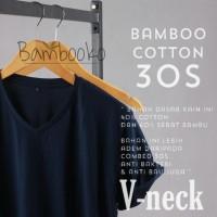kaos polos Navy Tua V-Neck katun bambu (cotton bamboo)