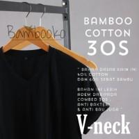 kaos polos Hitam V-neck katun bambu (cotton bamboo)