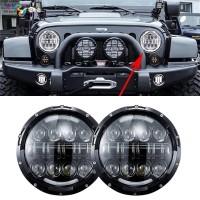 Lampu Headlamp Rubicon Jeep 7inch 55w LED DRL Hardtop Aksesoris Mobil