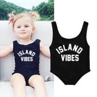 Baju Renang One Piece Motif Print Tulisan Warna Polos U Bayi / Anak Pe