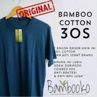 kaos oblong navy muda polos katun bambu cotton bamboo bukan combed