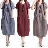 Dress Sundress Katun Linen Casual Longgar Wanita Lengan Pendek O-Neck