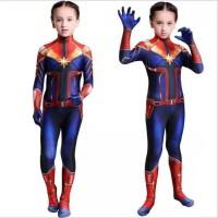 Kostum Superhero Baju CAPTAIN MARVEL Cosplay Anak Perempuan Jumpsuit