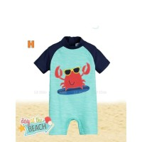 Baju Renang Anak Laki laki Jumsuit Crab Merah