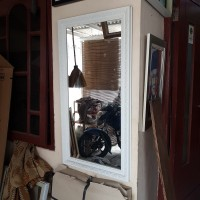 Kaca Cermin 30x60cm Gantung Frame Ukir Putih, Makeup Rias , Ruang tamu