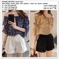 AB737931 Baju Atasan Sabrina Wanita Blouse Bunga Korea Import Biru