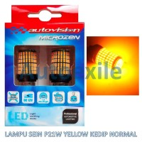 Autovision Microzen LED P21W 1156 Ba15S Kuning Lampu Sein Kedip Normal