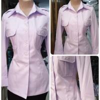 Atasan Blazer Baju Pegawai Kantor PDH Putih Polos Wanita Jokowi Lokal